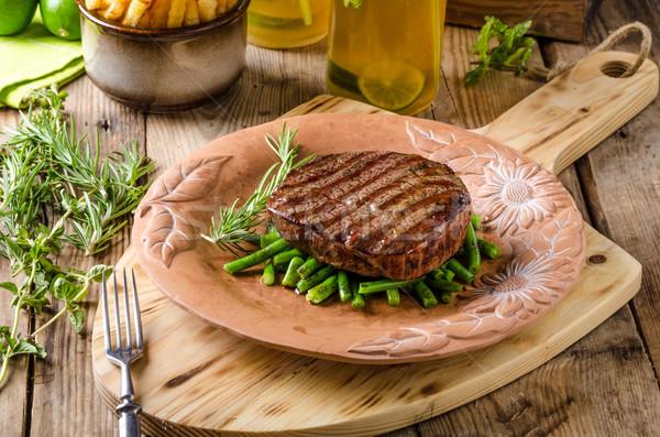 Carne controfiletto bistecca fatto in casa limonata rosso Foto d'archivio © Peteer