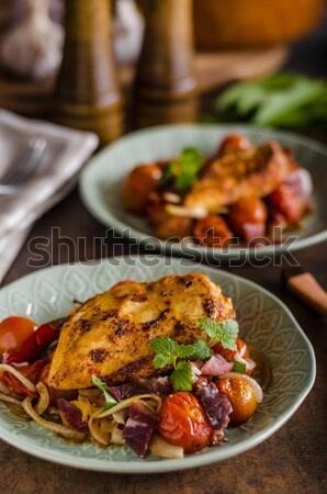 Grilled chicken steak with roasted vegetable Stock photo © Peteer