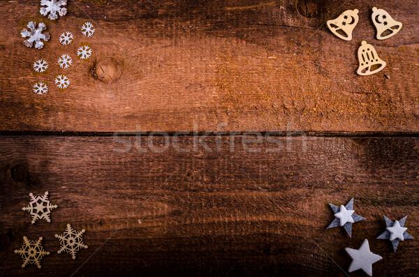 Navidad mesa de madera decoraciones árbol madera puerta Foto stock © Peteer