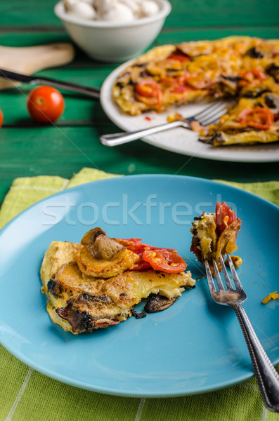 Potato frittata with chorizo Stock photo © Peteer