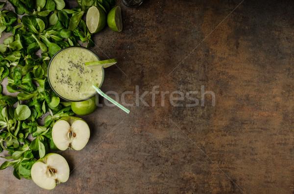 グリーンスムージー リンゴ 石灰 木材 リンゴ ストックフォト © Peteer