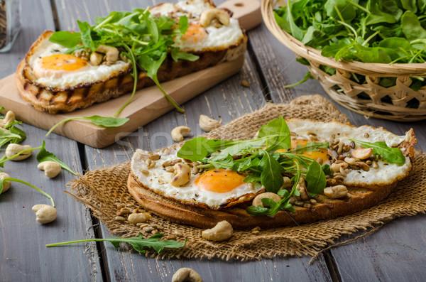 деревне хлеб жареный яйца орехи Сток-фото © Peteer