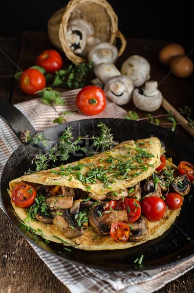 Rústico setas tomates alimentos fondo queso Foto stock © Peteer