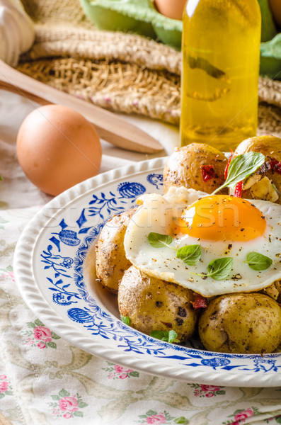 Stok fotoğraf: Patates · çili · sahanda · yumurta · taze · genç