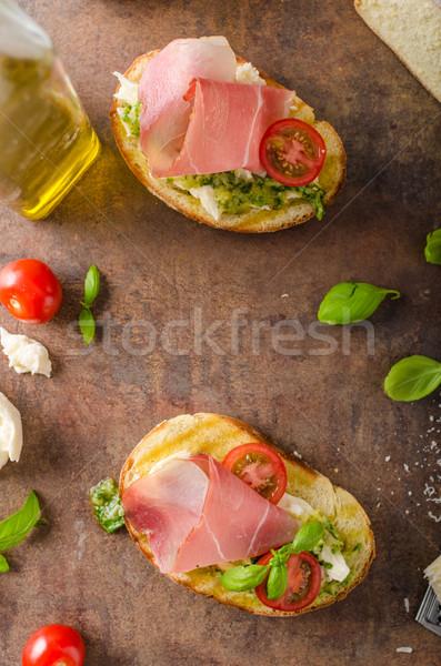 Stock fotó: Pirított · toszkán · kenyér · pesztó · fekete · erdő