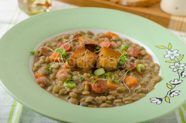 Lentil soup with Viennese sausage Stock photo © Peteer