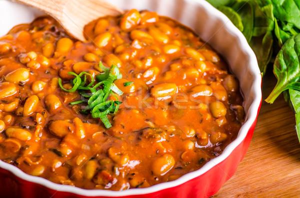 Pikantny cowboy fasola zioła chili jalapeno Zdjęcia stock © Peteer