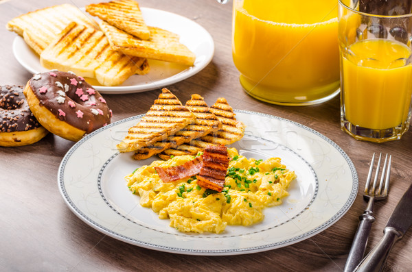 Scrembled eggs with panini toast and donut Stock photo © Peteer