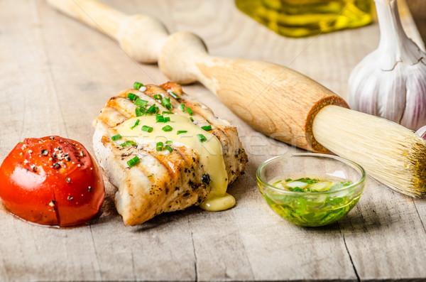 Picante pollo filete salsa a la parrilla tomate Foto stock © Peteer