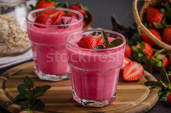 Strawberries puddink photo Stock photo © Peteer