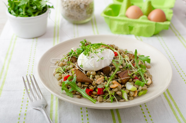 Stock photo: Lentil salad with poached egg