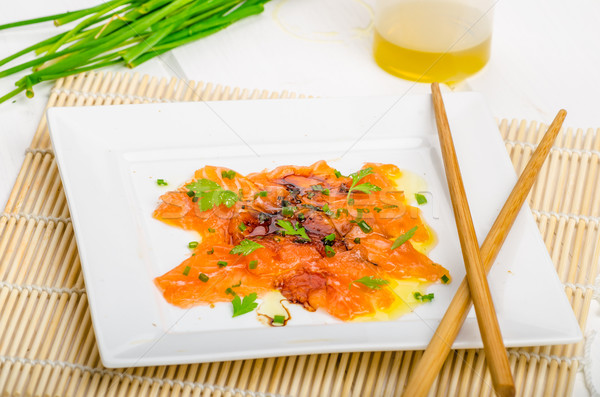 Sashimi yeni stil sıcak yağ otlar Stok fotoğraf © Peteer
