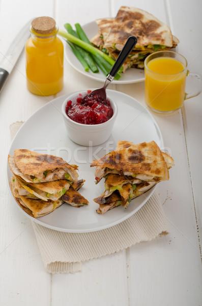 Turquie groseille sauce fraîches jus d'orange poulet Photo stock © Peteer