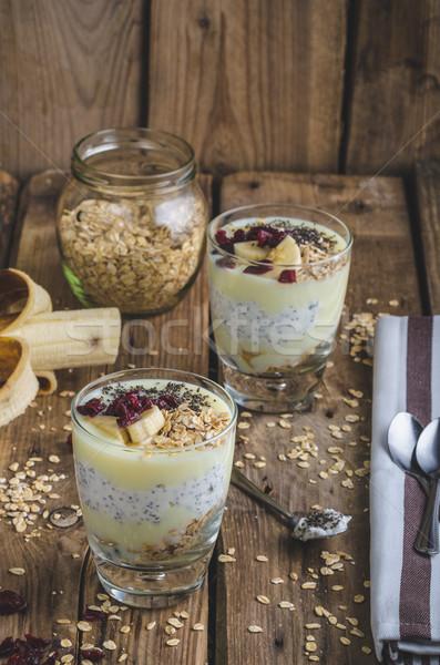 Bio egészséges reggeli granola görög joghurt Stock fotó © Peteer