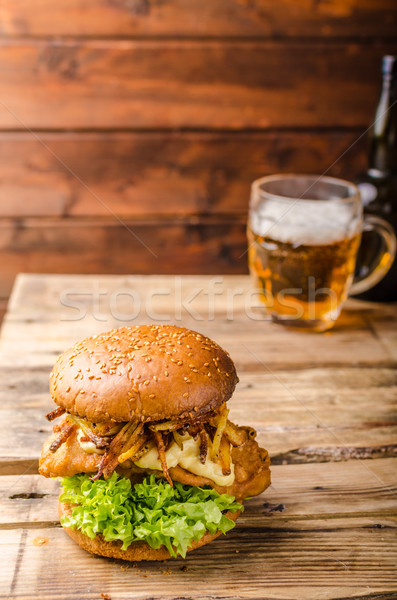 Poissons puces Burger frit de pomme de terre paille Photo stock © Peteer