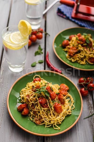 Homemade semolina spaghetti with cherry Stock photo © Peteer