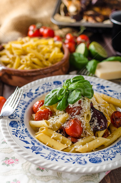 Stock photo: Pasta with baked vegetable
