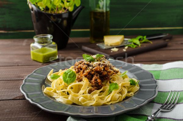 Fettuccine with Bolognese sauce Stock photo © Peteer