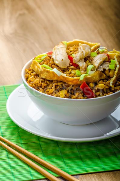 Tavuk köri pirinç Çin Çin yemek çubukları yeşil Stok fotoğraf © Peteer