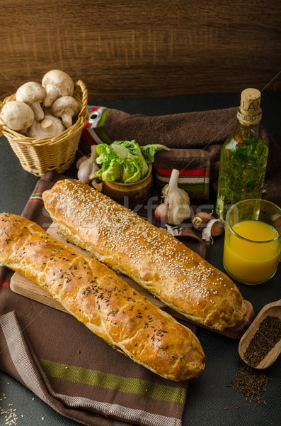 Stock photo: Roll out puff pastry stuffed