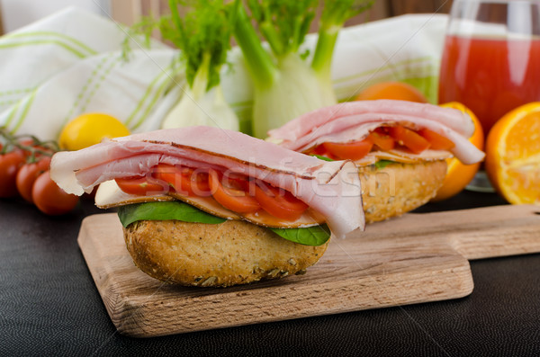 Wholemeal roll with prague ham Stock photo © Peteer
