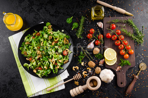 Stok fotoğraf: Marul · salata · hardal · pansuman · gıda · tablo