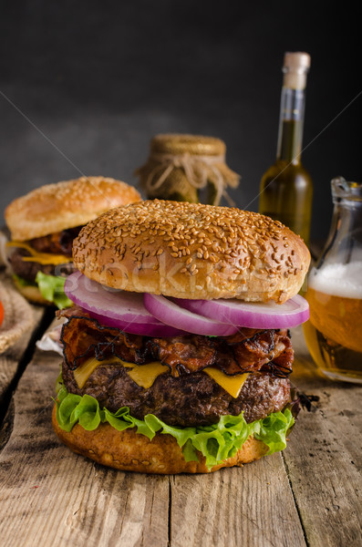 American rustic burger Stock photo © Peteer