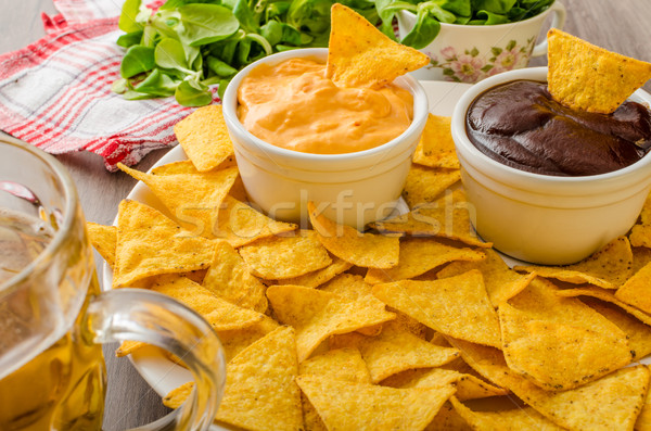 Tortilla chips queso salsa barbacoa checo Foto stock © Peteer