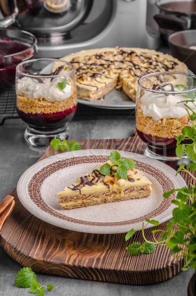 Mandulák csokoládés sütemény finom ízletes desszert kész Stock fotó © Peteer