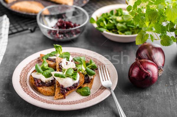 Heatly food toast with onion and mozzarella Stock photo © Peteer