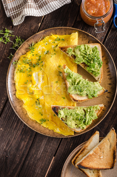 Stockfoto: Ei · knoflook · avocado · toast · bio · eieren
