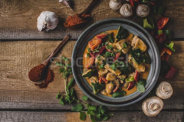 Kerrie kip plantaardige vers voedsel voedsel fotografie Stockfoto © Peteer