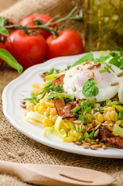 Spring salad of lentils with poached egg Stock photo © Peteer