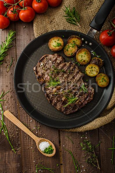 牛肉 リブ 眼 ステーキ 素朴な ストックフォト © Peteer