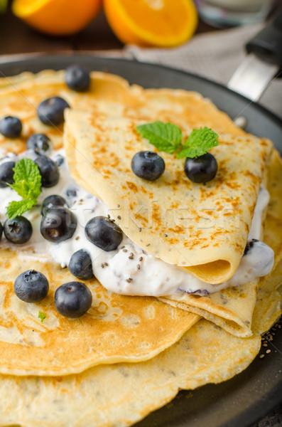 Gezonde pannenkoeken bosbessen glutenvrij voedsel vruchten Stockfoto © Peteer