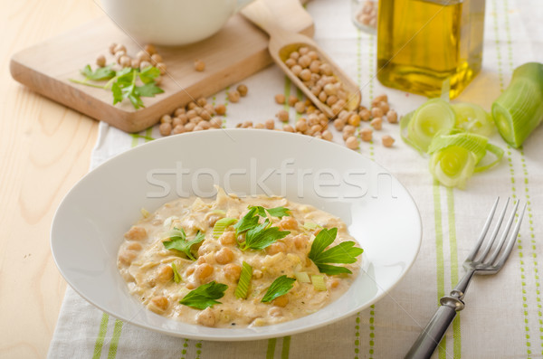 Chickpeas with paprika, cream sauce Stock photo © Peteer