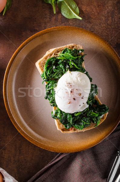 Ei knoflook spinazie geroosterd groene eieren Stockfoto © Peteer