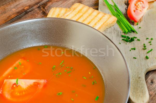 Tomatensoep toast hout plaat voedsel blad Stockfoto © Peteer