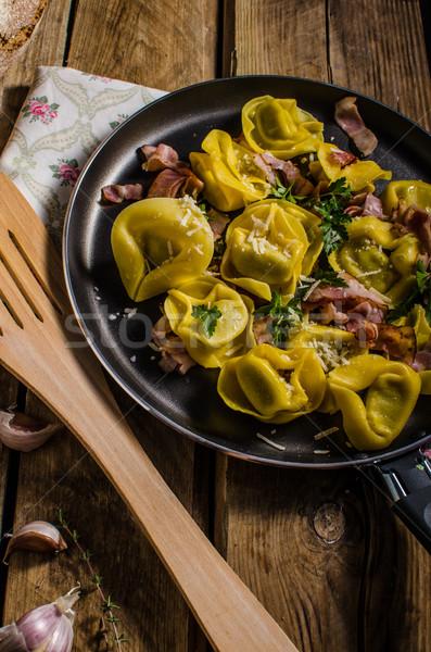 Homemade tortellini pasta stuffed cheese Stock photo © Peteer