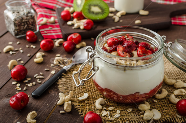 внутренний Вишневое йогурт удивляться семян фрукты Сток-фото © Peteer