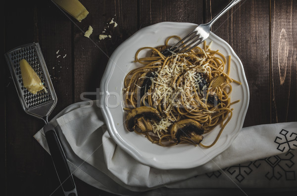 Whole grain spaghetti with mushrooms  Stock photo © Peteer