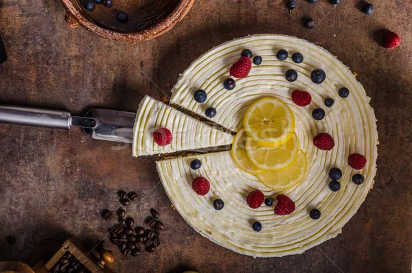 Stockfoto: Citroen · kwarktaart · bessen · vers · vruchten · donkere