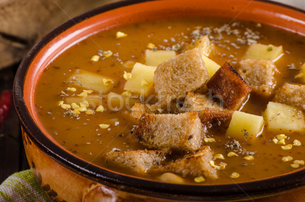 Goulash soup with croutons and potatoes Stock photo © Peteer