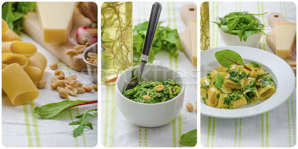 Rigatoni with garlic and herbs pesto - collage Stock photo © Peteer