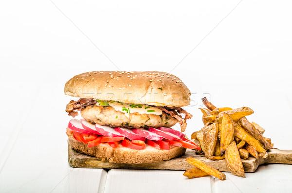 Chicken burger, healthy burger Stock photo © Peteer