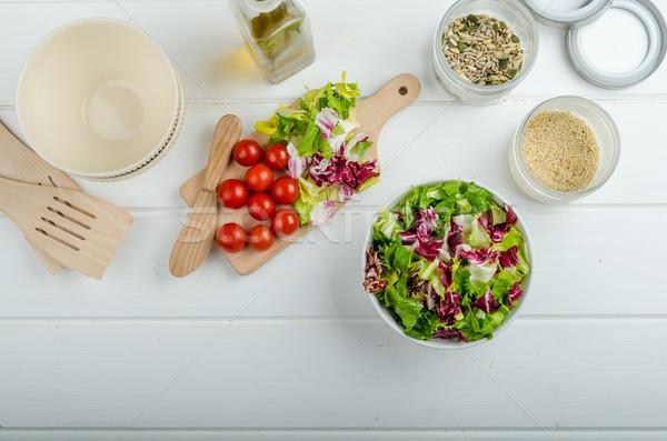 Préparation mixte légumes salade semences bio Photo stock © Peteer