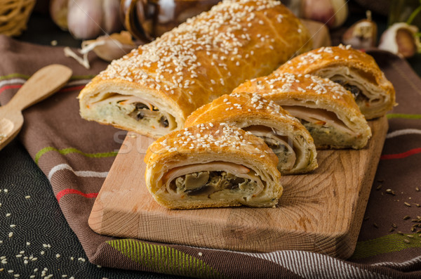 Roll out puff pastry stuffed Stock photo © Peteer