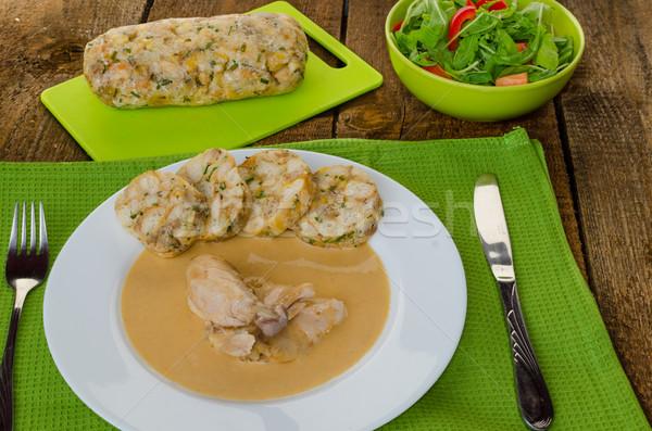 ストックフォト: 鶏 · クリーム · ソース · 魚 · 乳がん