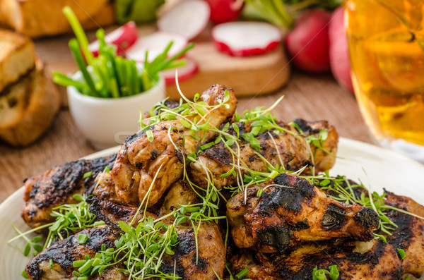 Grilled teriyaki chicken wings Stock photo © Peteer