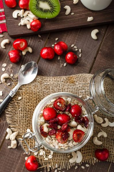 Stock fotó: Házi · cseresznye · joghurt · csoda · magok · gyümölcs